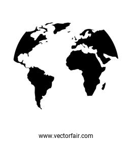 silhouette world map location planet