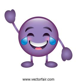 purple emoticon cartoon face smiling with tears character