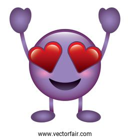 purple emoticon cartoon face in love character