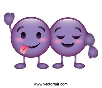 cute purple emoticons hugging happy tongue out character