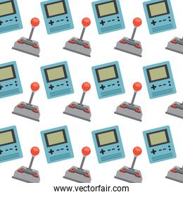 retro video game console portable and joystick pattern