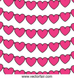 decorative garland with hearts love romantic pattern