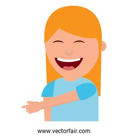 portrait laughing young woman pointing with finger something