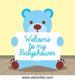 baby shower card with blue bear teddy and banner
