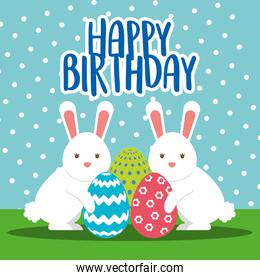 happy birthday card with rabbits and eggs