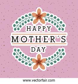 mothers day card with flowers on pink background