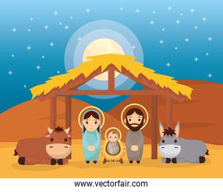 celebration merry christmas manger flat design