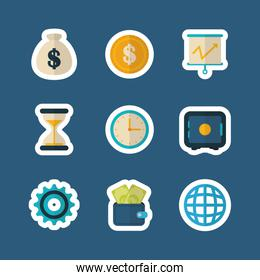 safe box currency clock world report finance icons flat design