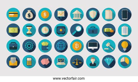 finance business icons flat design