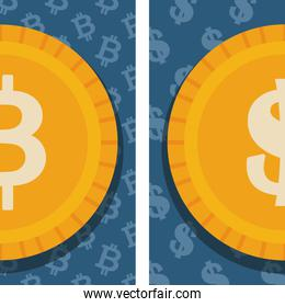 cryptocurrency and dollar finance icons design