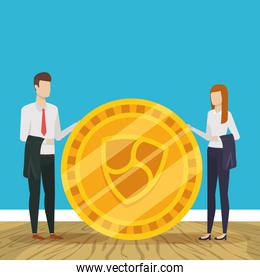 business people cryptocurrency finance design