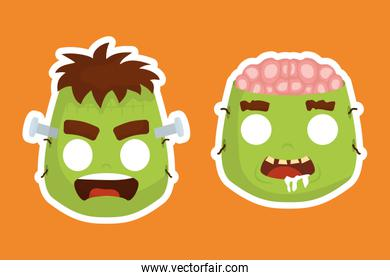 halloween heads of frankenstein and zombie characters