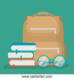 back to school card with schoolbag and books