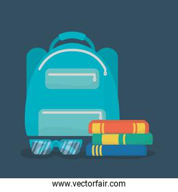 back to school poster with schoolbag and books