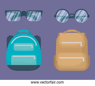 back to school card with schoolbags and eyeglasses
