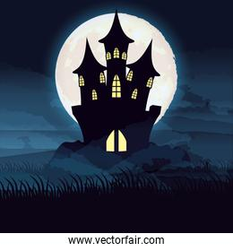 halloween dark night with castle scene