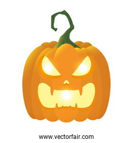 halloween pumpkin lamp with face character