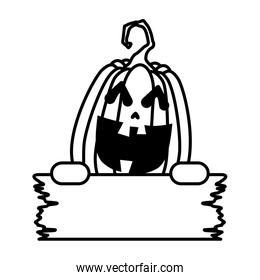 halloween pumpkin with face and wooden label character