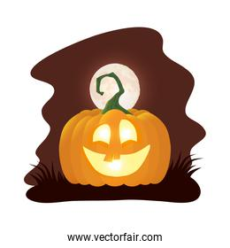 halloween pumpkin lamp with face at night character