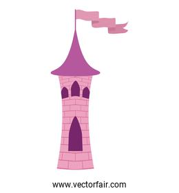princess pink tower castle with flag