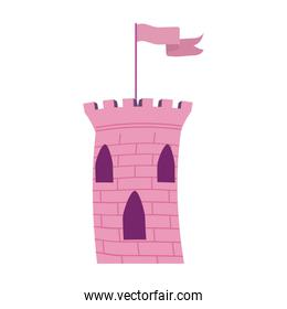 princess pink tower castle with flag over white