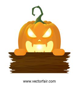 halloween pumpkin lamp with face and wooden label