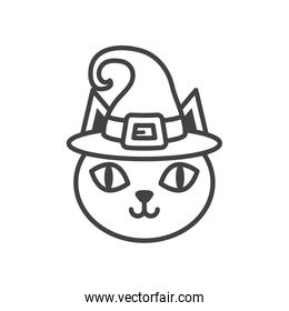 halloween cat head with hat witch