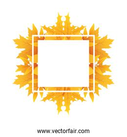 autumn square frame with leafs decoration