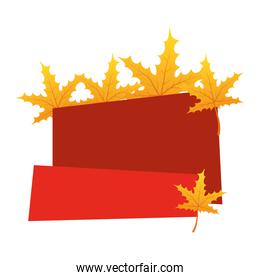 autumn leafs foliage seasonal with red label