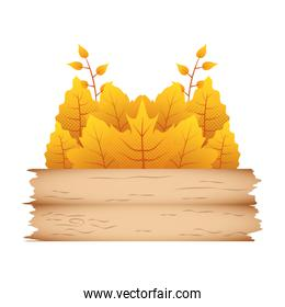 autumn branch with leafs and wooden label decorative crown