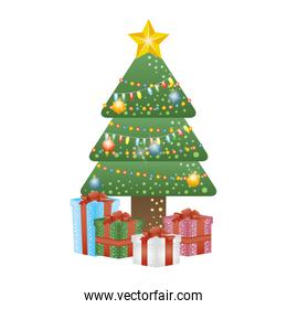 merry christmas pine tree with colors lights and gifts