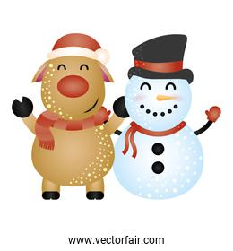 merry christmas pretty snowman and reindeer