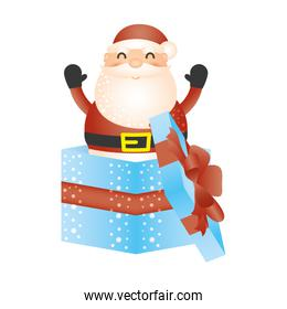 merry christmas santa claus in gift character