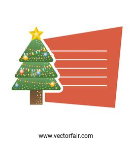 merry christmas pine tree with colors lights card