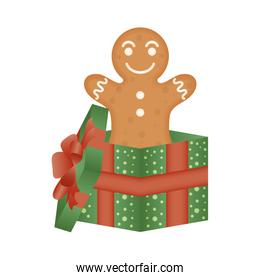 christmas gift box present with ginger cookie