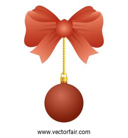 merry christmas ball with bow hanging
