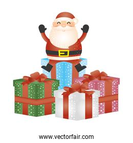 merry christmas santa claus in gifts character