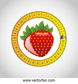 strawberry fruit with tape measure
