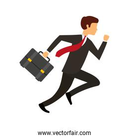 businessman running character isolated icon