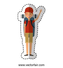 young man character with summer clothes