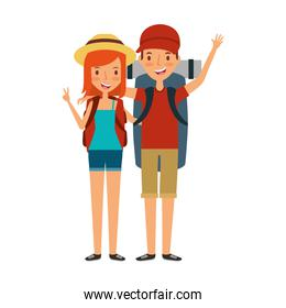 young people character with summer clothes