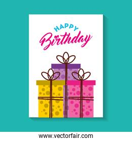 happy birthday celebration card with gifts