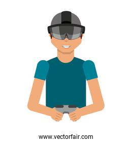 Person with augmented reality glasses