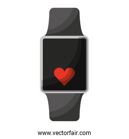 smartwatch with cardio app isolated icon