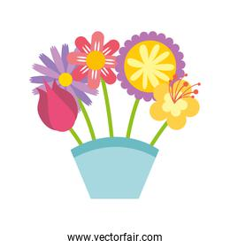 cute bouquet of flowers nature icon