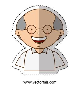 cute grandfather character icon