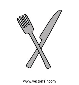 knife and fork kitchen cutlery isolated icon