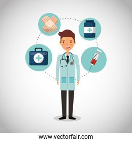health professional with equipment