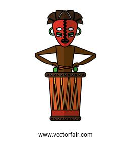 Native african playing the drum