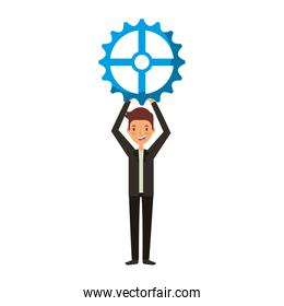 businessman with gear avatar character icon